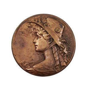 1930 Armand Bargas Brass Cameo Coin Copper Brooch